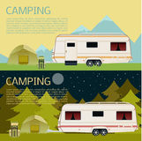 Set of camping banners Stock Photo