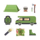 Set camping equipmen vector illustration. Eps10 Stock Photos