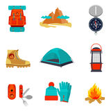 Set of camping equipment icons and symbols. Sketch style vector illustration  on white background. Backpack tent compass lantern hiking boots fire pocket knife Royalty Free Stock Photography