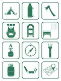 Set of camping equipment icons Royalty Free Stock Photos