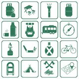 Set of camping equipment icons Stock Photos