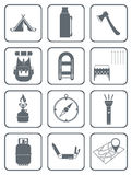 Set of camping equipment icons Stock Images