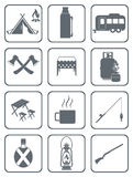Set of camping equipment icons Royalty Free Stock Photography