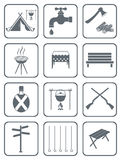 Set of camping equipment icons Royalty Free Stock Image