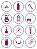 Set of camping equipment icons Stock Image