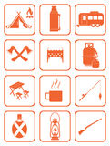Set of camping equipment icons Stock Photo