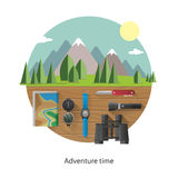 Set of camping equipment. Stock Photos