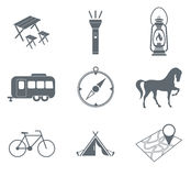 Set of camping equipment pictograms. Vector illustration Royalty Free Stock Images