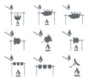 Set of camping equipment pictograms Stock Photography