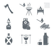 Set of camping equipment pictograms. Vector illustration Royalty Free Stock Photos