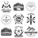 Set of camping equipment symbols Royalty Free Stock Images