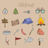 Set of camping equipment symbols and icons Royalty Free Stock Images