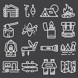 Set of camping equipment symbols and icons stock illustration