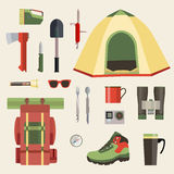Set of camping equipment symbols, icons and tools. Vector illustration. Eps10 Stock Photos