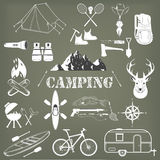 Set of camping equipment symbols and icons. Royalty Free Stock Photography