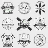 Set of camping equipment symbols and icons. Royalty Free Stock Image