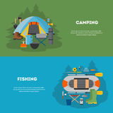Set of camping and fising flat design. Royalty Free Stock Image