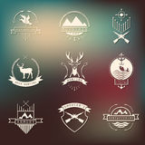 Set of camping and  hunting logos. Mountain camp Royalty Free Stock Photography