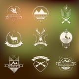 Set of camping and  hunting logos. Mountain camp Stock Photos