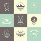 Set of camping and  hunting logos Stock Photography