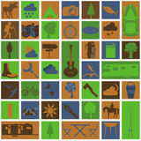 Set camping icon, hiking, outdoors Stock Photo