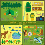 Set camping icon, hiking, outdoors Royalty Free Stock Images