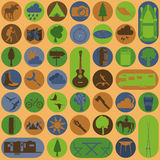 Set camping icon, hiking, outdoors Stock Photography