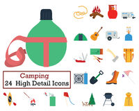 Set of 24 Camping Icons. Flat color design. Vector illustration Stock Photo