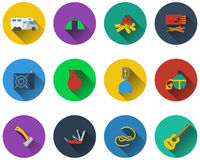 Set of camping icons Royalty Free Stock Photos