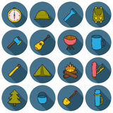 Set of camping icons Stock Photos