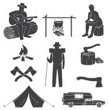 Set of Camping icons isolated on the white background. Vector illustration. Set include camping tent, campfire, bear, man with guitar, pot on the fire, girl Stock Photo