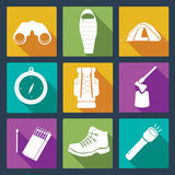 Set of camping icons. Royalty Free Stock Image