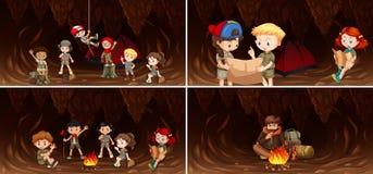 Set of camping kids in cave. Illustration vector illustration