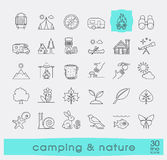 Set of camping and nature icons. Royalty Free Stock Photography
