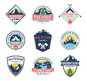 Set of camping and outdoor activity labels Stock Image