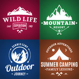 Set of camping and outdoor activity labels Royalty Free Stock Photography