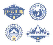 Set of camping and outdoor activity labels. Set of camping and outdoor activity logos. Tourism, hiking and camping labels. Camping and travel icons for tourism Royalty Free Stock Image