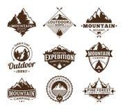 Set of camping and outdoor activity logo Stock Photos