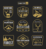 Set of camping outdoor and adventure gears badge logo Royalty Free Stock Image