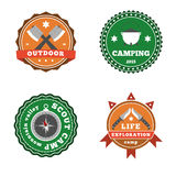 Set of camping and outdoor adventure stickers logo badges labels Stock Photo