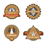 Set of camping and outdoor adventure stickers logo badges labels Royalty Free Stock Photography