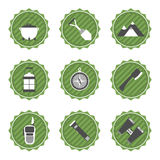 Set of camping and outdoor adventure stickers logo badges labels Royalty Free Stock Images
