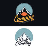 Set of Camping and Rock Climbing vintage colored logos, emblems, labels, badges. Royalty Free Stock Photos