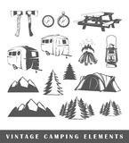 Set camping silhouettes. Vintage Camping elements. Set camping silhouettes isolated on white background Stock Images