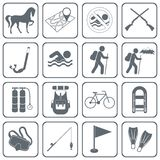 Set of camping and sport equipment icons Royalty Free Stock Images