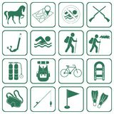 Set of camping and sport equipment icons Stock Photo