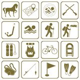 Set of camping and sport equipment icons Royalty Free Stock Photo