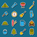 Set of camping stickers Stock Photography