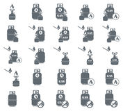 Set of camping stove and gas bottle icon vector. Vector illustra. Tion Royalty Free Stock Photo