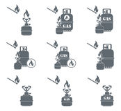 Set of camping stove and gas bottle icons. Vector illustration Stock Photography